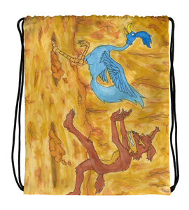 Drawstring Gym Bag draw drawing illustration color colored road wolf bird perseguition run mammal