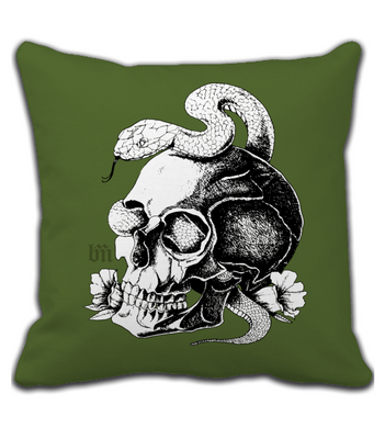 Throw Pillow Snake&Skull