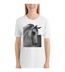 T-Shirt Horse farm equestrian race drawing realistic pencil graphite arabian art animal wild pet