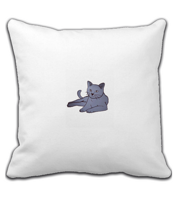 Throw Pillow Fluffy gray cat
