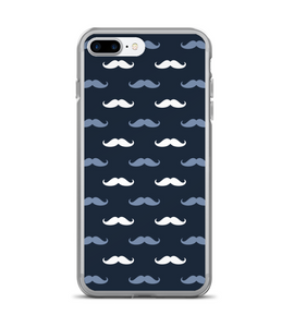 Blue White Mustache Print Pattern Phone Case