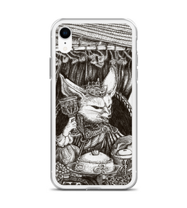 King Fennec Fox feast in desert - medieval fairytail style - cute ink art Phone Case
