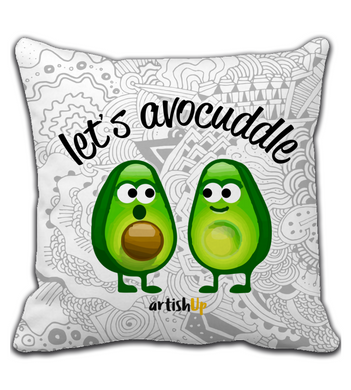 Throw Pillow Lets avocuddle white