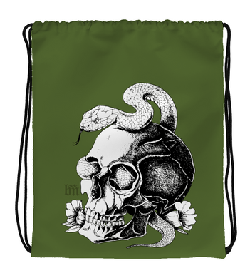 Drawstring Gym Bag Snake&Skull