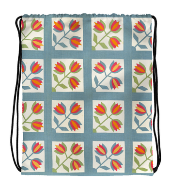 Drawstring Gym Bag Tiles and Flowers