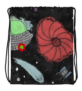 Drawstring Gym Bag cartoon comic battle ship space military cover illustration drawing galaxy color