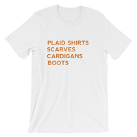 Plaid Shirts, Scarves, Cardigans, Boots Short-Sleeve Unisex T-Shirt