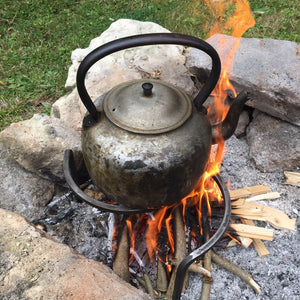 Campfire trivet with kettle