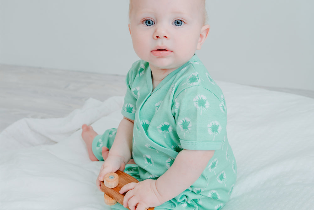 GOTS-Certified Organic Cotton Summer Short Sleeve Kimono Sleepsuit - Dandelions in Mint