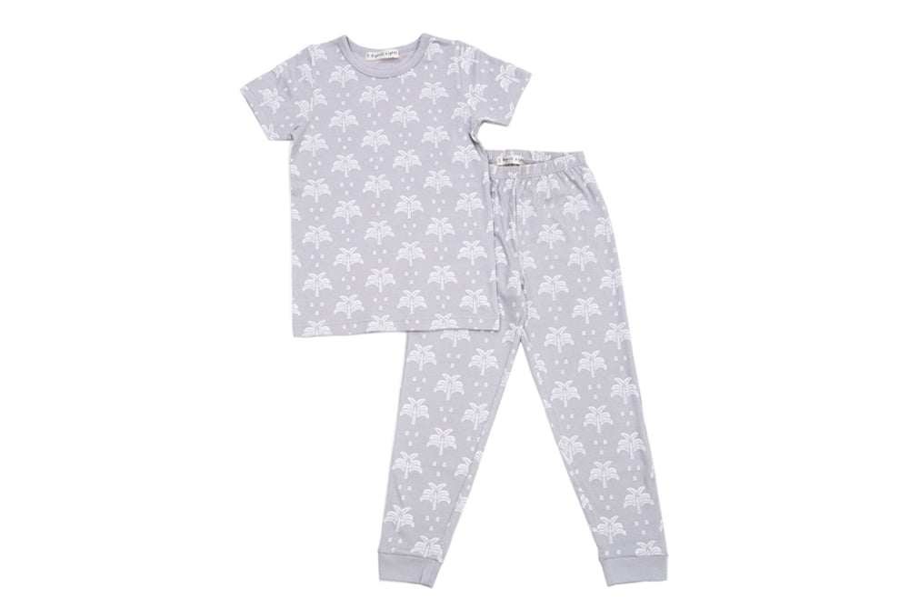 GOTS-Certified Organic Cotton Summer T-Shirt and Long-Leg Pyjama Set - Palms & Pineapples in Grey