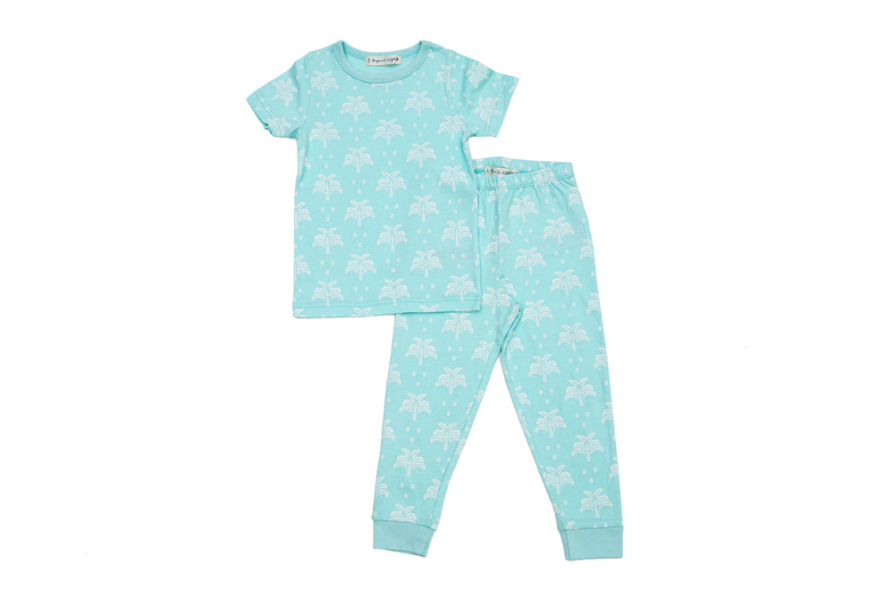 GOTS-Certified Organic Cotton T-Shirt and Long-Leg Pyjama Set - Palms & Pineapples in Island Water Green