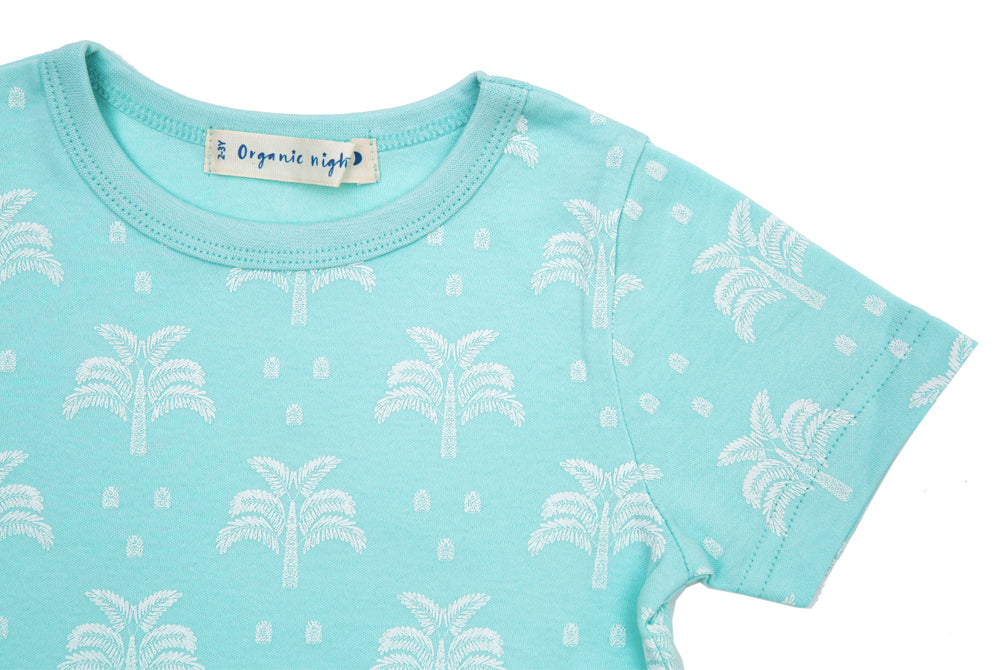 GOTS-Certified Organic Cotton Summer T-Shirt and Long-Leg Pyjama Set - Palms & Pineapples in Island Water Green