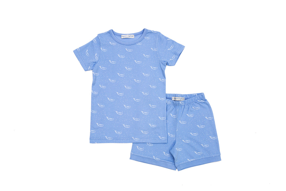 GOTS-Certified Organic Cotton Short Pyjama Set - Tiny Whales in Hydrangea Blue