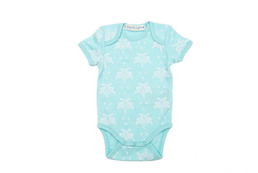 GOTS-Certified Organic Cotton Short-Sleeve Sleepsuit  - Palms and Pineapples in Island Water Green