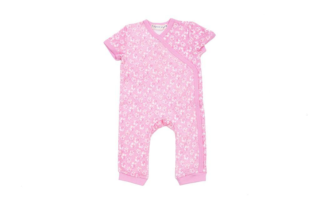 GOTS-Certified Organic Cotton Summer Short Sleeve Kimono Sleepsuit - Coral in Pink