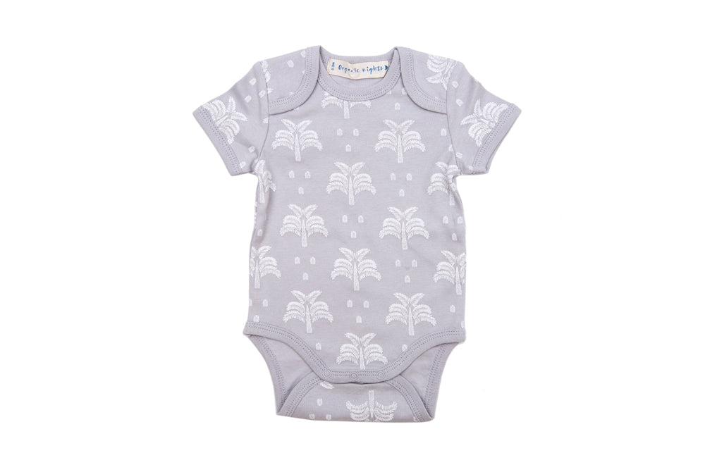 GOTS-Certified Organic Cotton Summer Short Sleeve Sleepsuit - Palms and Pineapples in Grey