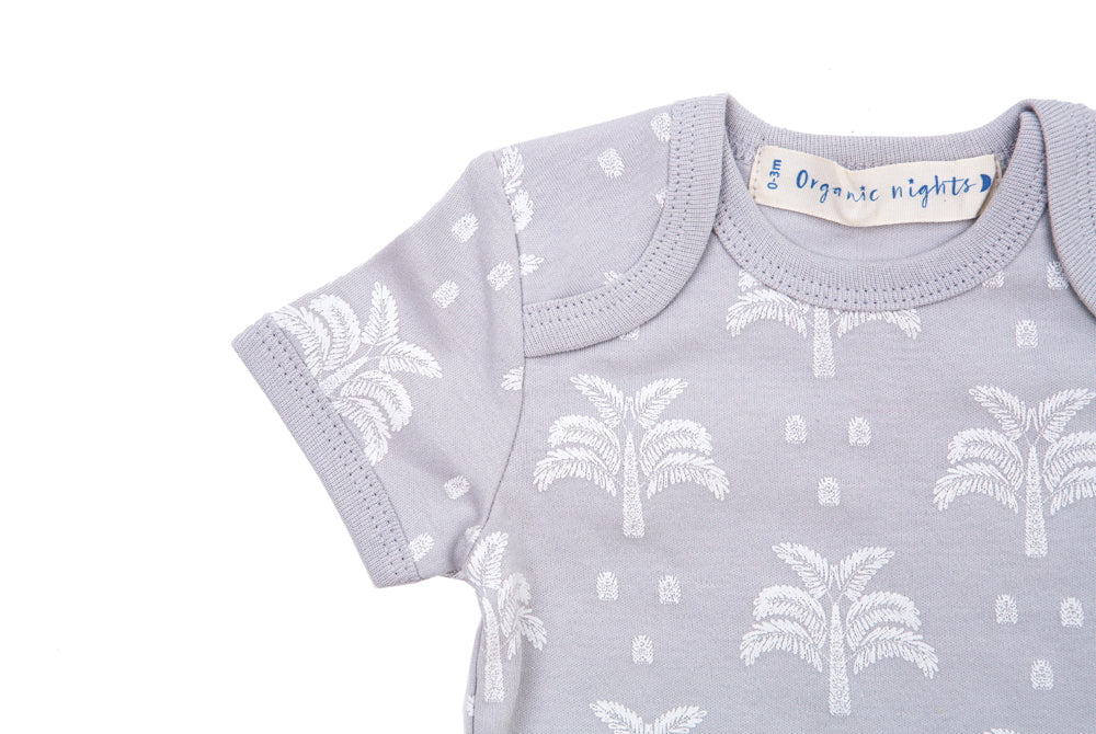 GOTS-Certified Organic Cotton Short Sleeve Sleepsuit - Palms and Pineapples in Grey