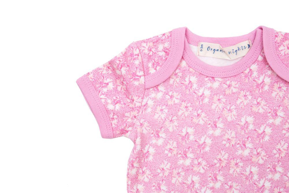 GOTS-Certified Organic Cotton Summer Short-Sleeve Sleepsuit - Coral in Pink