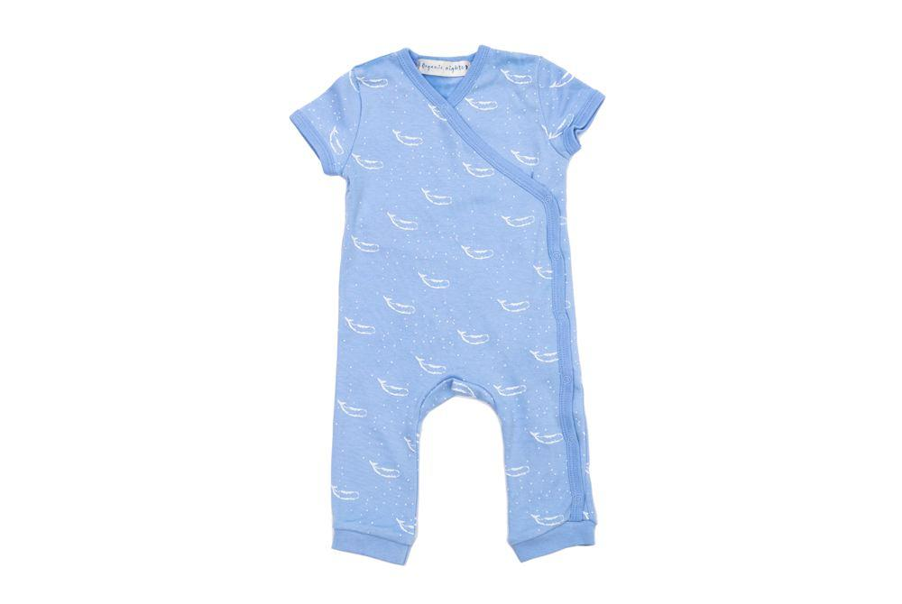 GOTS-Certified Organic Cotton Short Sleeve Kimono Sleepsuit - Tiny Whales in Hydrangea Blue