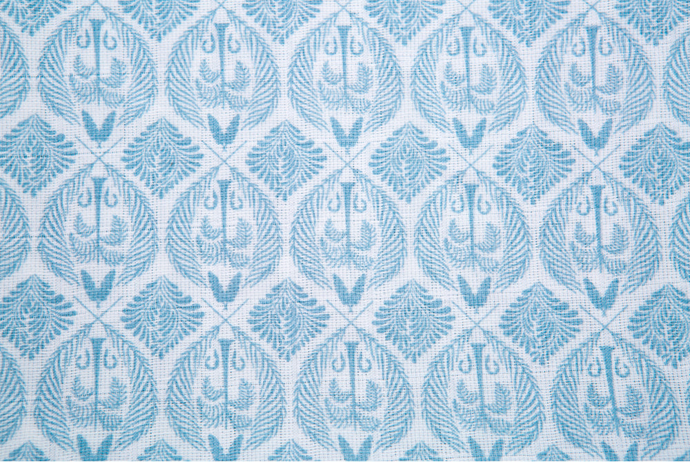 100% Organic Cotton Muslin - Blue Tropics in Mist Blue