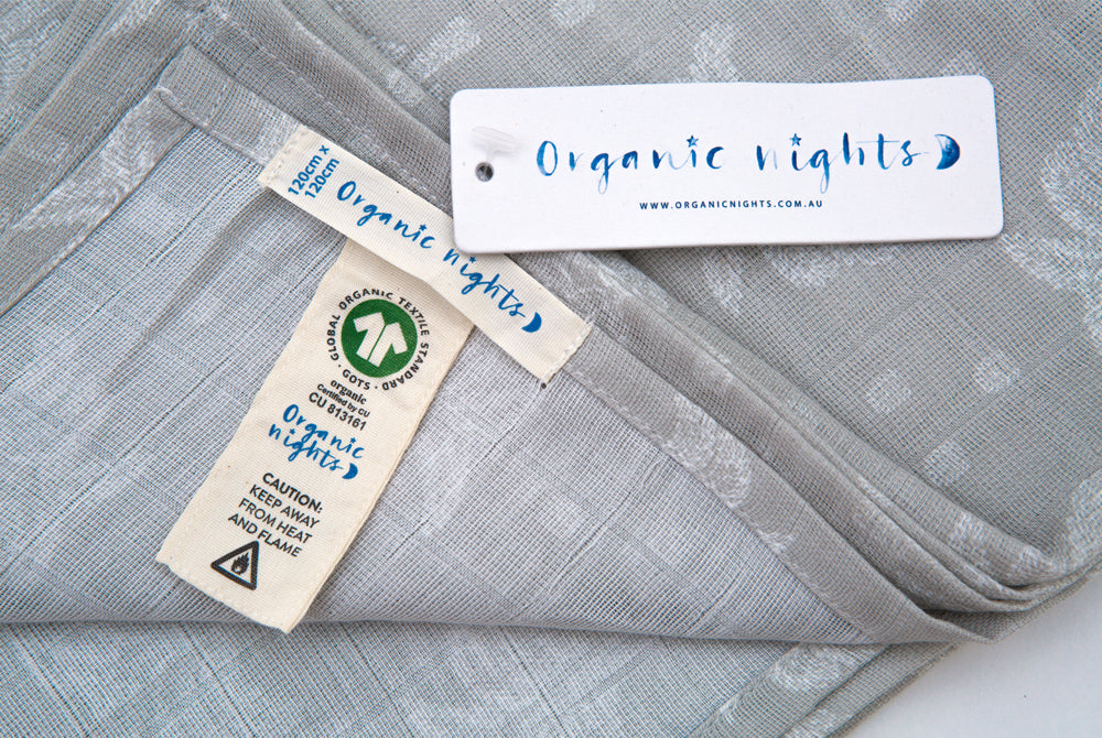 100% Organic Cotton Muslin - Palms and Pineapples in Grey