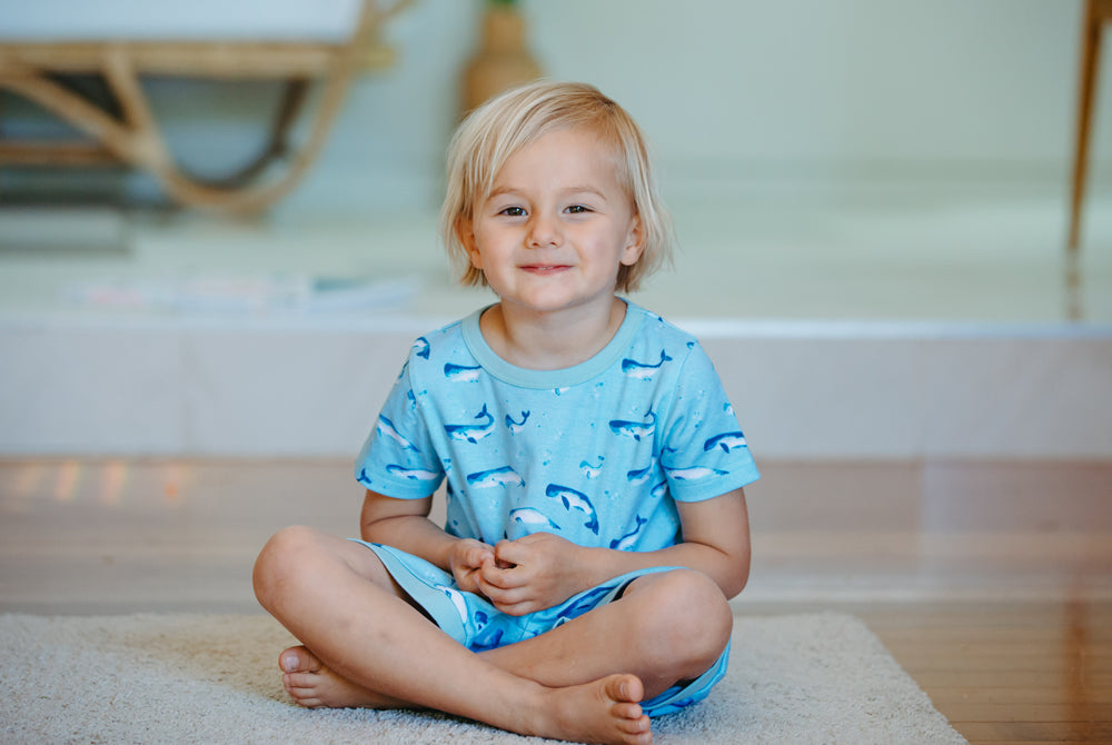 GOTS-Certified Organic Cotton Short Pyjama Set - Watercolour Whale Pods in Aquatic Blue