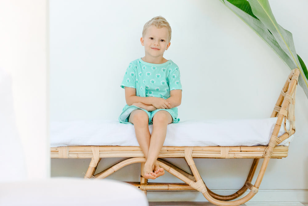 GOTS-Certified Organic Cotton Short Pyjama Set - Dandelions in Mint