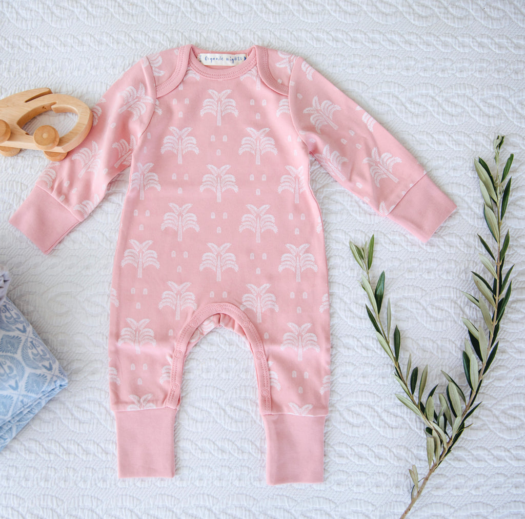 100% Organic Cotton Baby Sleepsuit in Blush Pink