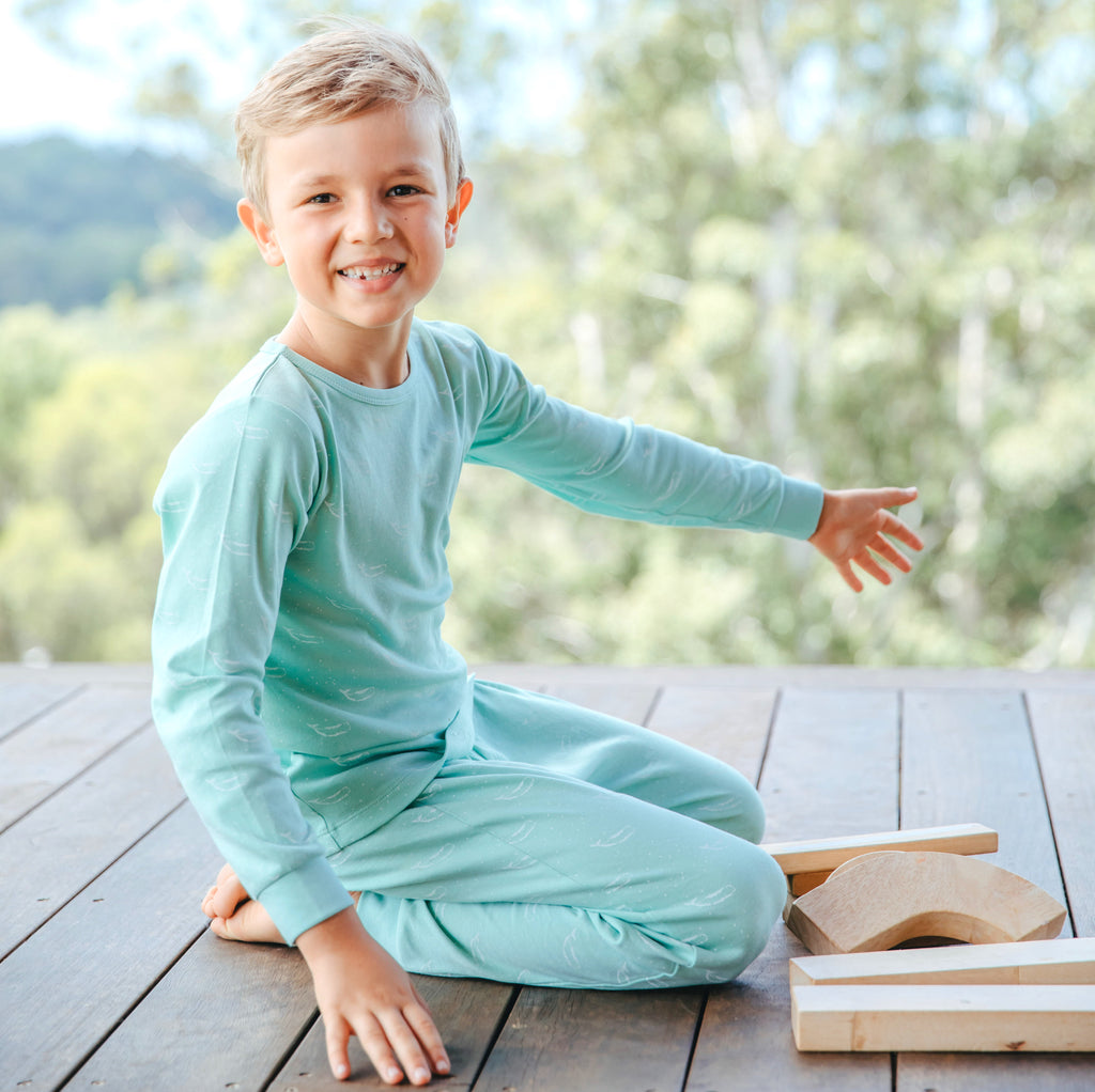 100% Organic Cotton Autumn/Winter Pyjama Set in Sage Green