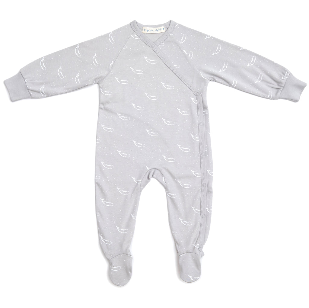 100% Organic Cotton Kimono Baby Sleepsuit with Feet in Grey