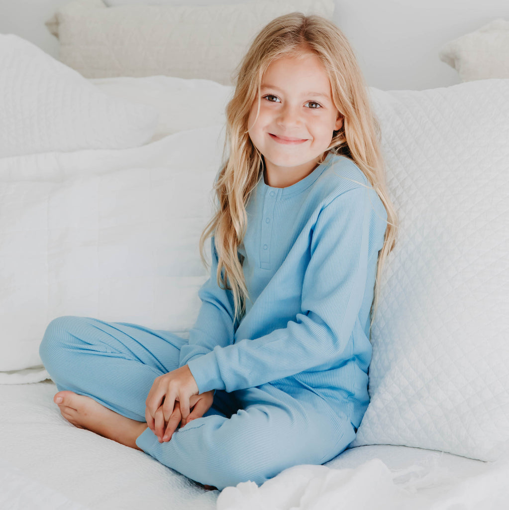 100% Organic Cotton Rib-Knit Autumn Winter Pyjamas in Powder Blue