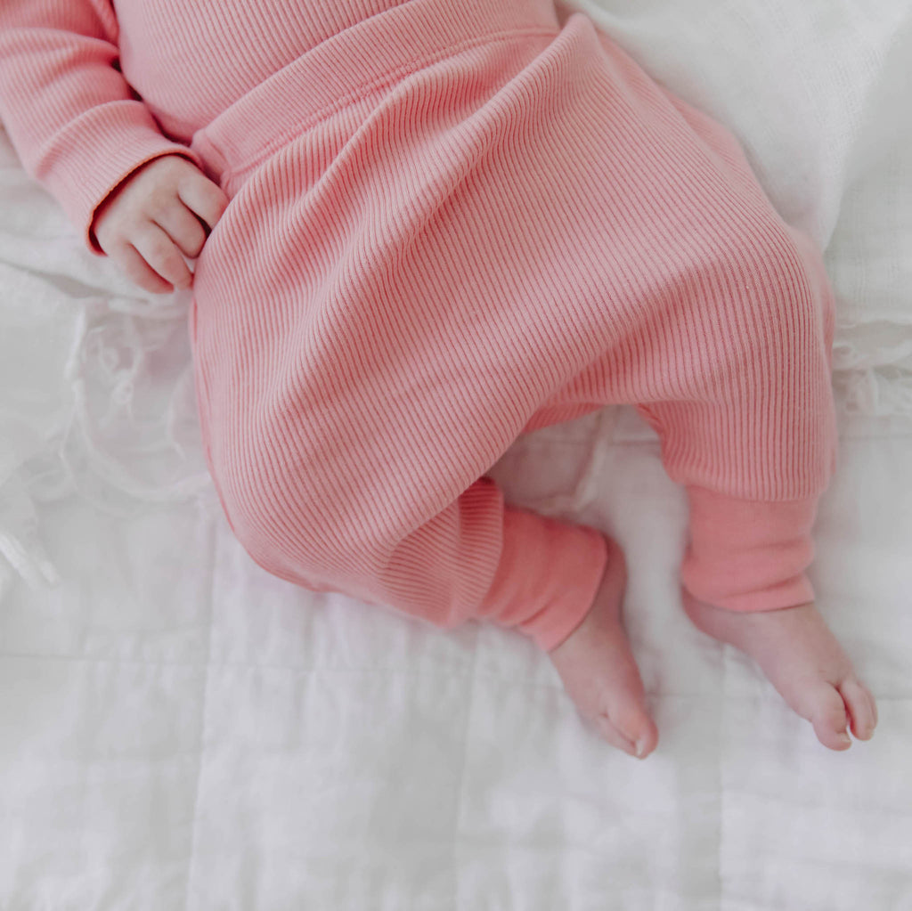 100% Certified Organic Cotton Rib-Knit Autumn Baby Sleep Pants in Pink