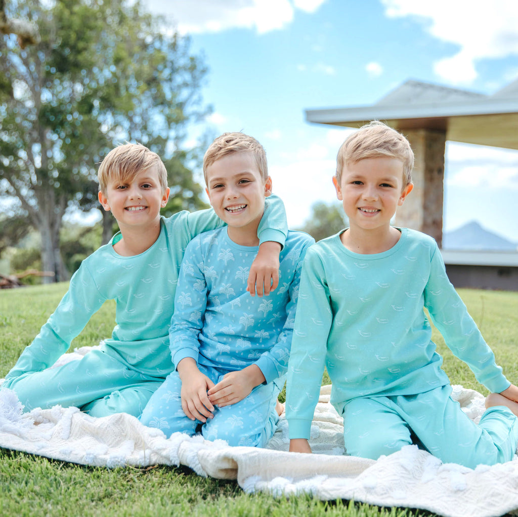 100% Organic Cotton Autumn/Winter Pyjama Set  in Aquatic Blue