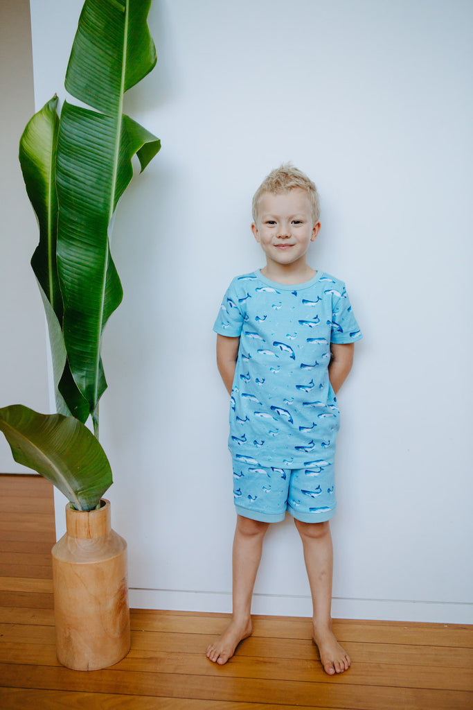 GOTS-Certified Organic Cotton Summer Short Pyjama Set - Watercolour Whale Pods in Aquatic Blue