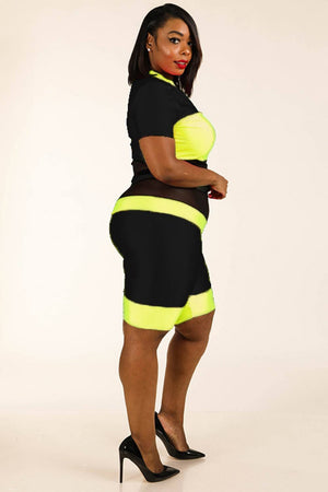 Color Blocked Zippered Nylon Spandex Top & Biker Shorts Set