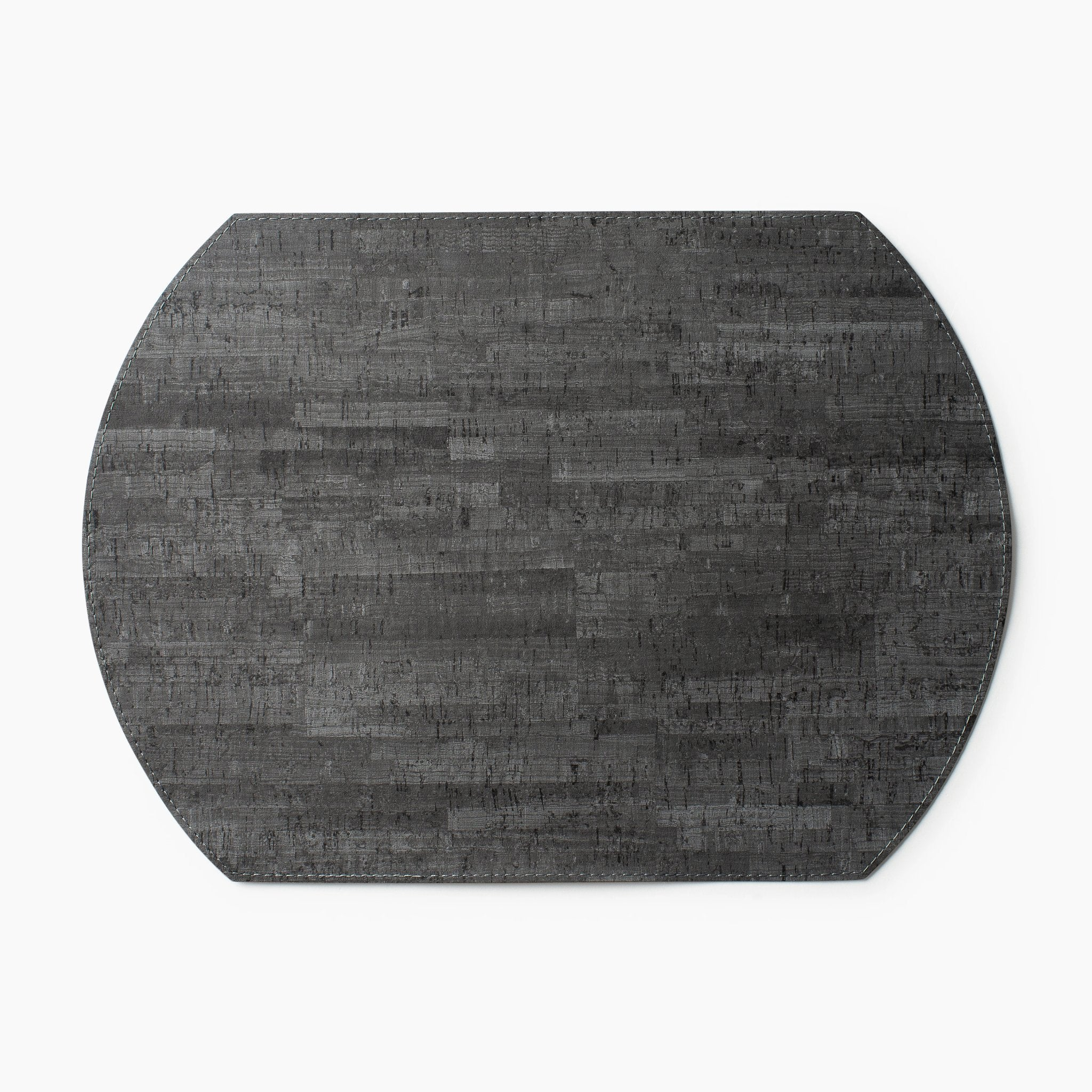 Mink and Charcoal Vinyl Oval Placemat S/6