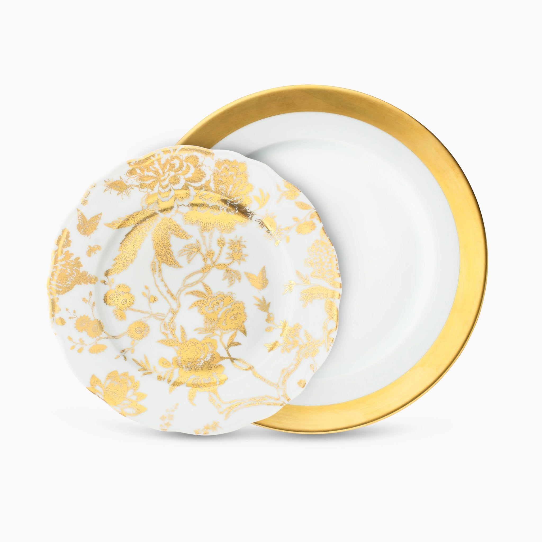 Gold Floral Dinnerware Set