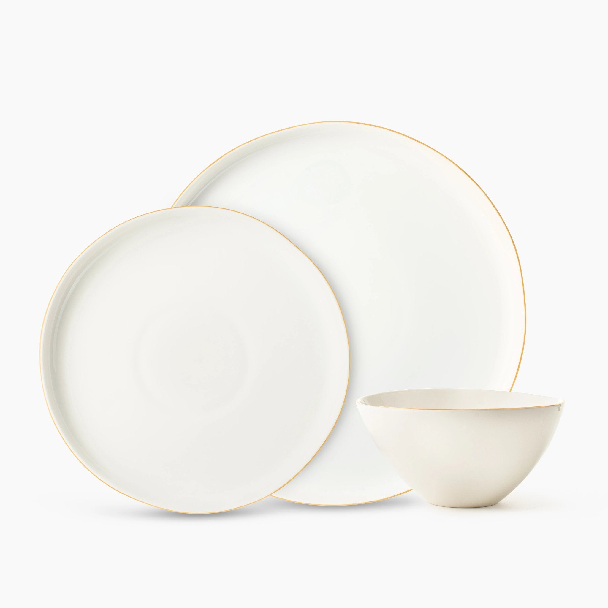 White and Gold Organic Dinnerware Set S/4