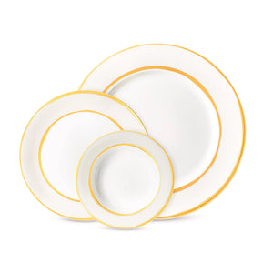Double Rim Grey and Gold Dinnerware Set