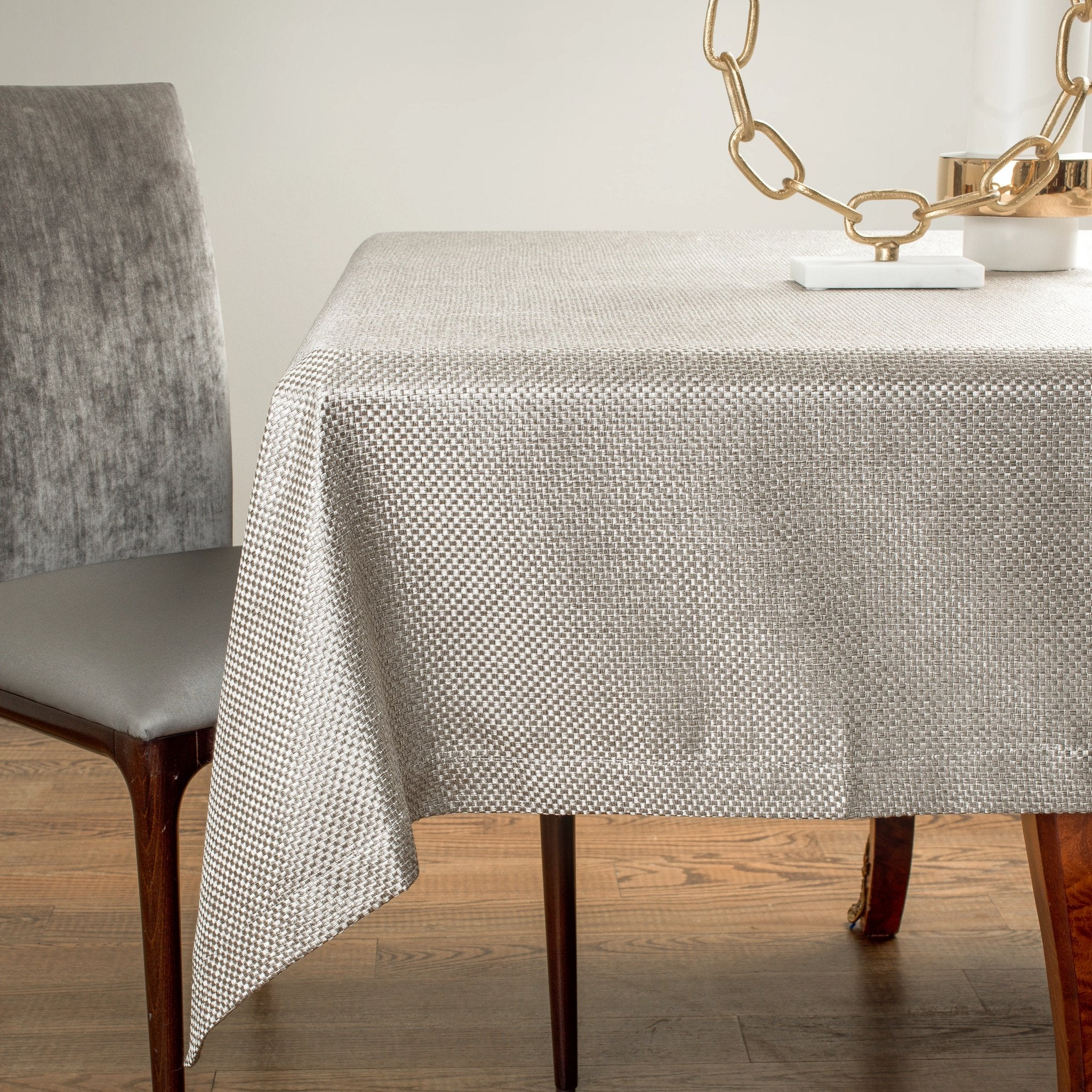 Grey Basketweave Tablecloth