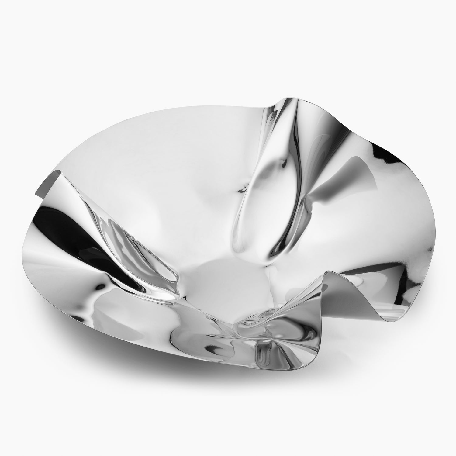 High Gloss Silver Pinched Bowl XL