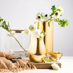 Flower Metallic Cylinder Vase