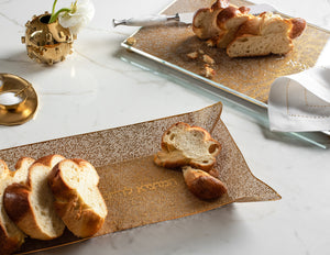 Metalace Gold Organic Mesh Challah Board