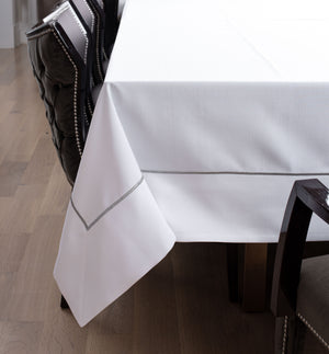 Embroidered Metallic Border Tablecloth