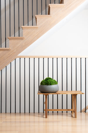 Grey Ribbed Moss Planter