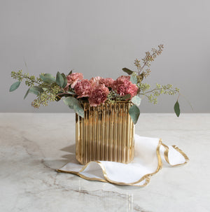 Gold Ribbed Vase