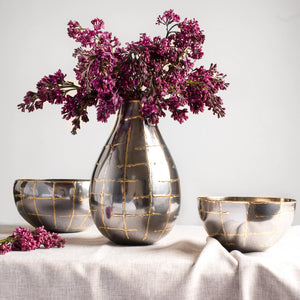 Metallic Grid Vase
