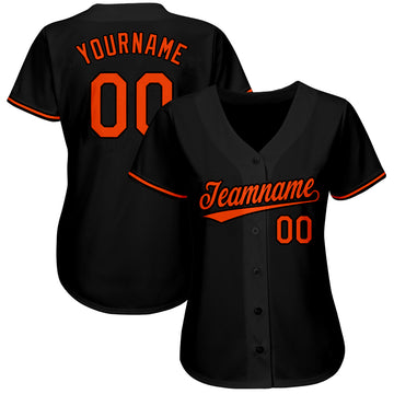 Custom Black Orange Baseball Jersey