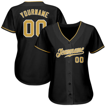 Custom Black Old Gold-White Authentic Baseball Jersey