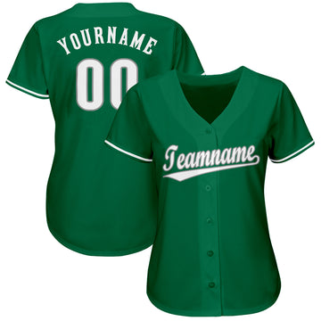 Custom Kelly Green White-Gray Baseball Jersey - Jersey